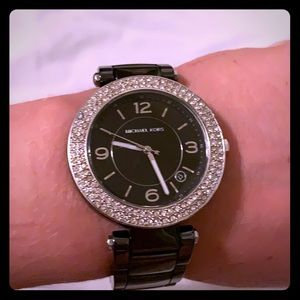 Black Michael Kors Ceramic Glitz Watch